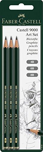 Faber-Castell 119099 Bleistift 9000 Art Set, 3 Stück, Härtegrad 4B, 6B und 8B