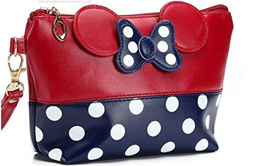 Bolso de viaje de piel de dibujos animados, bolsa de cosméticos portátil (rojo)