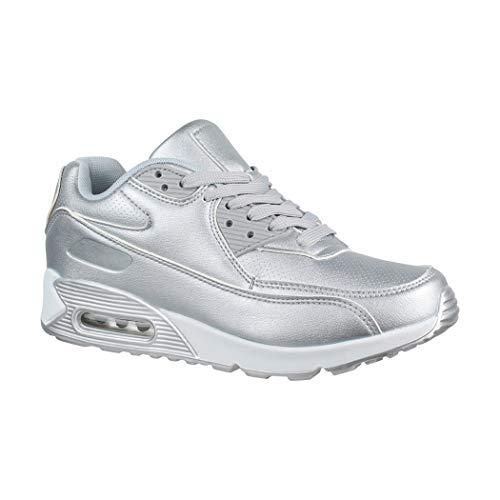Elara Damen Herren Sneaker Unisex Sport Laufschuhe Turnschuhe Chunkyrayan 11703 Silver-39