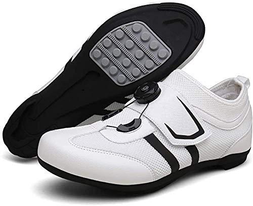 KUXUAN Road Cycling Shoes,Men's Bicycle Shoes,Lightweight Wear Resistant Bike Footwear Road Bike Shoes Mountain Bike Shoe,White-43EU