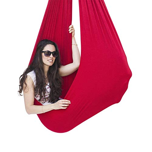 LHHL Kinder Indoor Hangmat Schaukel Professionele Knuffeltherapie Schaukel Elastische Paket Steady Seat Swing Stuhl Voor Autisme (Farbe: Rot, Größe: 150 x 280 cm)