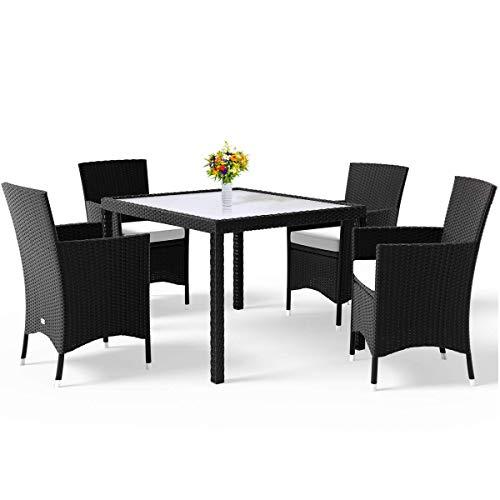 Deuba Set salottino da Giardino in polirattan 4 sedie impilabili 1 Tavolo Cuscini 7cm Spessore mobili Giardino Esterno