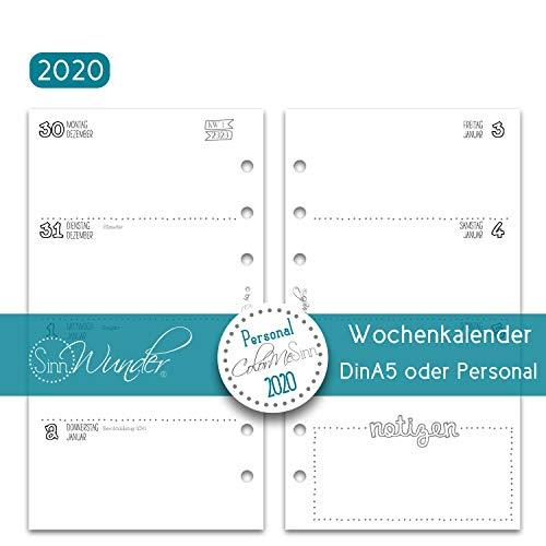 SinnWunder® 2020 Premium-Kalendereinlagen - Wochenplan mit 1 Woche auf 2 Seiten - ColorMeSinn - Personal (A6)