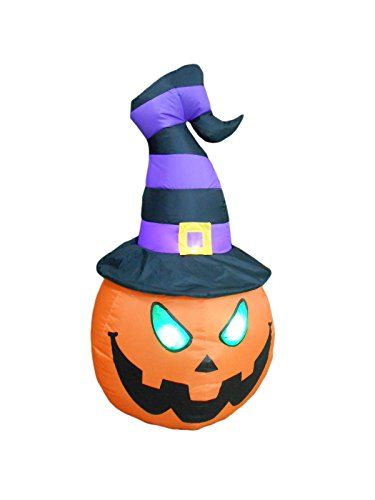 BZB Goods 4 Foot Tall Lighted Halloween Inflatable Pumpkin with Witch Hat LED Lights Decor Outdoor Indoor Holiday Decorations, Blow up Lighted Yard Decor, Giant Lawn Inflatables Home Family Outside