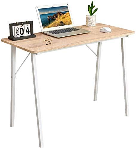 Coavas Escritorio de estudio simple para computadora, pequeño industrial con patas de metal para niños, estudiantes, adultos, mesas de madera, 100 x 48 x 74 cm, roble y blanco