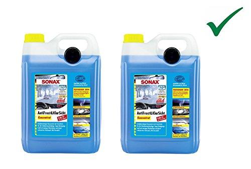 SET! 2 x 5 L SONAX ANTIFROST&KLARSICHT KONZENTRAT Scheibenreiniger Scheiben Scheinwerfer Frostschutz mit Citrusduft bis -30°