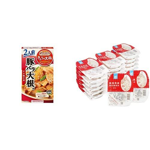 味の素 Cook Do きょうの大皿 豚バラ大根用 2人前(57g)×5個 + Happy Belly パックご飯 新潟県産こしひかり 200g×20個(白米) 特別栽培米