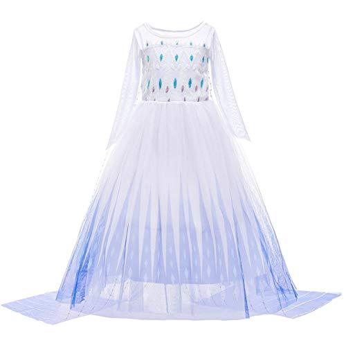 YOGLY Mädchen ELSA und Anna 2 Krönungskleid Kleid Eiskönigin 2 kostüm Prinzessin Kostüm Erwachsene Maxi Dress für Party Jahre 6 Jahre