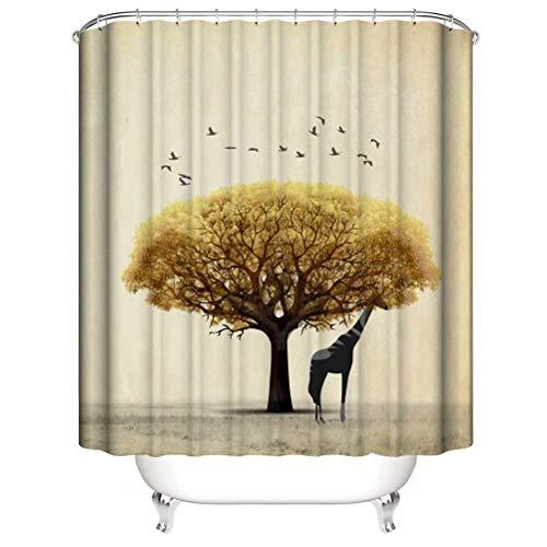 LGY Der Goldene Baum. Giraffe. Duschvorhang. Badezimmerzubehör. Wasserdicht. Enthält 12 Haken. Duschvorhangstangenringhaken. Hintergr&. Party. Wohnzimmer.
