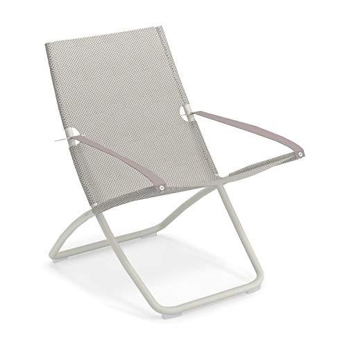 Snooze Liegestuhl, eisgrau weiß Sitzfläche EMU-Tex eisgrau BxHxT 75x105x91cm Gestell Stahl weiß klappbar