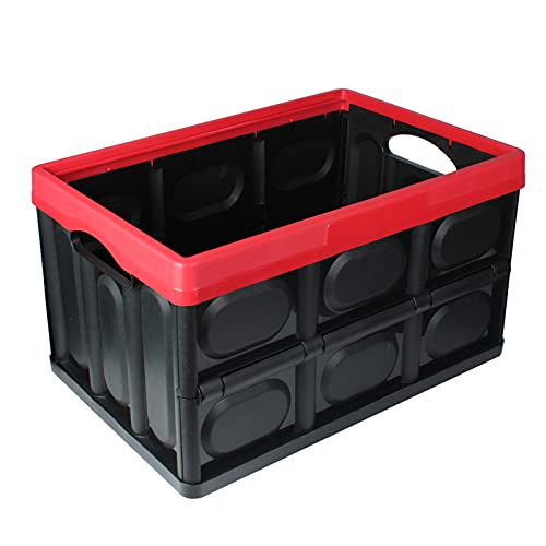 TENKY 30L faltbarer Trunk-Organizer, Autoaufbewahrungsbox, wasserdichte zusammenklappbare dauerhafte Multi-Fächer mit Abdeckung reflektierender Streifen