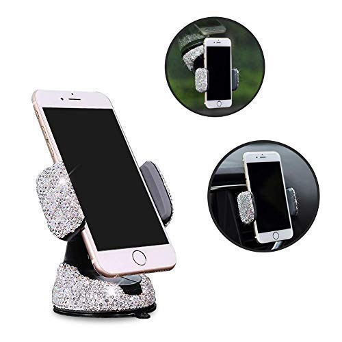 eing Car Phone Mount Cell Phone Holder with One More Air Vent Base,Bling Crystal Universal Phone Mount Holder Cradle for Dashboard,Windshield and Air Vent,Silver
