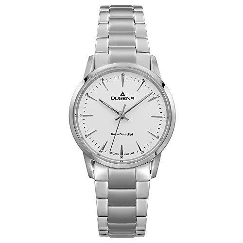 DUGENA Damen-Armbanduhr Momentum XS, Funkuhrwerk, Quarz, Edelstahlgehäuse, Saphirglas, Edelstahlarmband, Drückerfaltschließe, 5 bar (Silber)