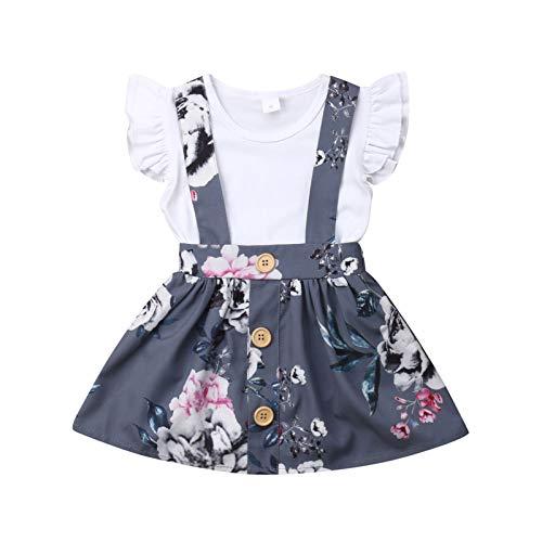 Conjunto de ropa de bebé de manga corta + falda de lazo o vestido de algodón corto para niños pequeños, 2 piezas, 3 meses a 4 años White Top 12-18 Meses