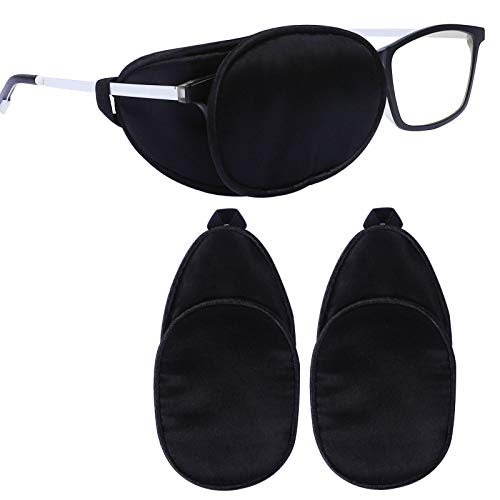 eZAKKA Eye Patches for Adults, Eye Patch for Glasses Silk Patch for Lazy Eye Amblyopia Strabismus and After Surgery (Black+Black)