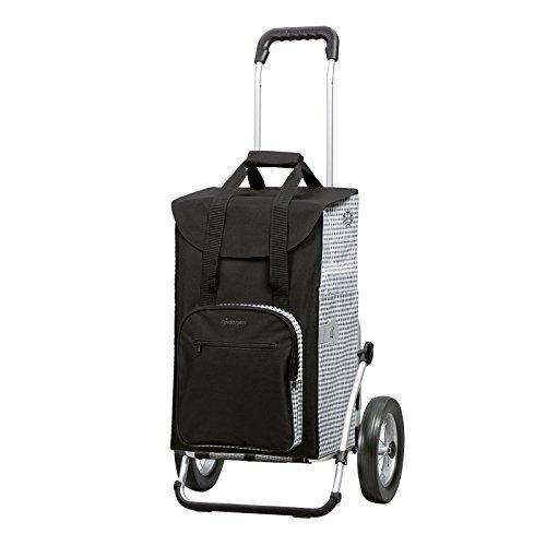 Andersen Einkaufstrolley Royal Dante und 45 Liter Einkaufstasche schwarz/weiß mit Kühlfach Einkaufswagen Gestell aus Aluminium klappbar