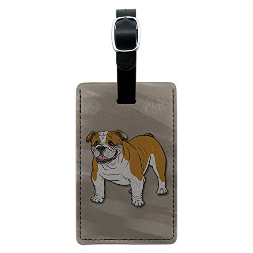 Graphics & More English Bulldog-Pet Dog Leather Luggage Id Tag Suitcase Carry-on, Black