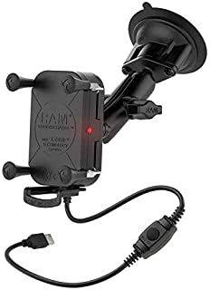 RAM Mounts Tough-Charge Waterproof Wireless Charging Suction Cup Mount RAM-B-166-UN12W with Medium Arm for Vehicle Windshields