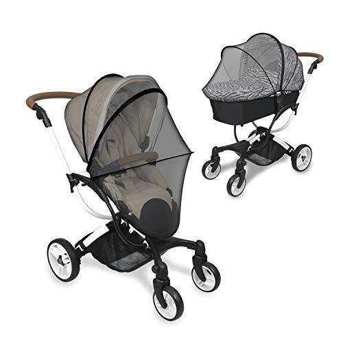 Barnvagn solskydd myggnät 2-i-1 med dragkedja spädbarn insekt insekt insekt insekt nät-skydd markiser vattentät och vindtät anti-UV paraply Canopy Universal passform för barnvagn, passar 99 % barnvagn Helt svart