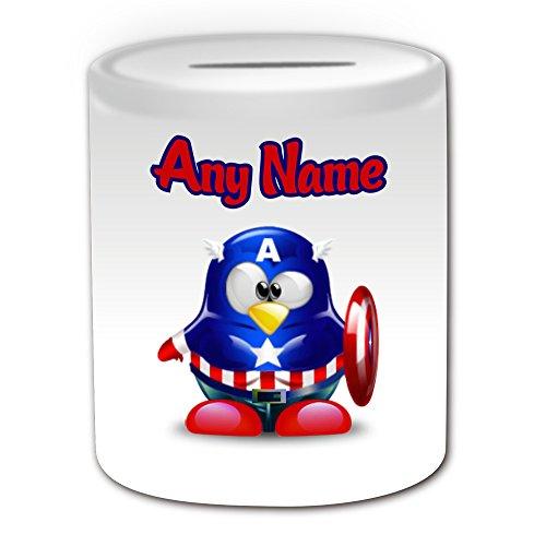 Gepersonaliseerd geschenk - Steve Rogers Money Box (Penguin Film Character Design Thema, wit) - Elke naam/boodschap op uw unieke - Spaar Piggy Bank - Kostuum Film Superheld Hero Marvel Strips Avengers US Army Captain America