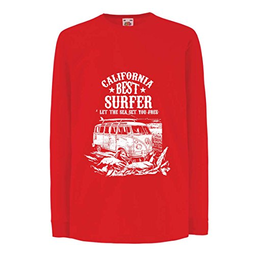 lepni.me Camiseta para Niño/Niña Mejor Surfista de California - Vacaciones de Verano en la Playa, Estilo de Surf, Van, Diseño de Viajes (14-15 Years Rojo Multicolor)