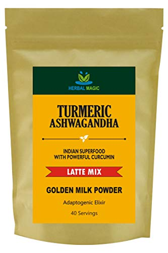 Herbal Magic Turmeric Ashwagandha Latte Mix - 100% Organic Indian Superfood with Powerful Curcumin - Caffeine Free - Golden Milk Powder, 40 Servings - Premium Quality Lakadong Turmeric Used
