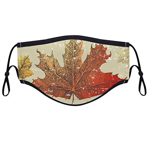 Vintage Canada Red Maple Leaves Dust Washable Reusable Adjustable Earloop Anti Dust for Daily Use Or Outdoor Sports (with Two Filters)