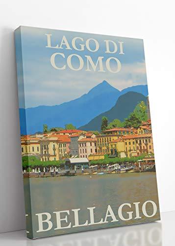 Lake Como Lago Di Como Vintage Wall Art on Stretched Canvas (11x14)