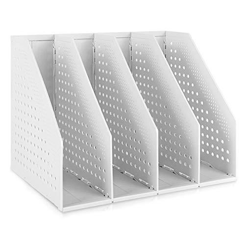 SAYEEC Archivador de escritorio para archivos, revistas, soporte de 4 secciones, plástico hueco, organizador plegable, archivador, estante, divisores, estante de exhibición y almacenamiento (blanco)