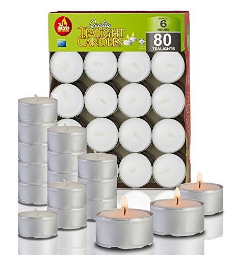 Ner Mitzvah 6 Hour Tea Light Candles - 80 Pack Bulk Package - White Unscented Travel, Centerpiece, Decorative Candle with Maxi Burn Time - Pressed Wax