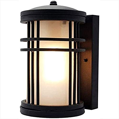 Rindasr LED-licht voor buiten, waterdicht, melkglas, lampenkap van wit glas, behuizing van zwart metaal, roestvrij, verlichting in Europese stijl voor de garage