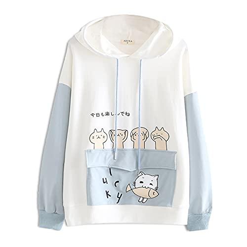 Jersey Kawaii para niñas Sudadera con Capucha de Manga Larga de Estilo Escolar japonés Pullover con Dibujos Animados con Bolsillo de Gran tamaño