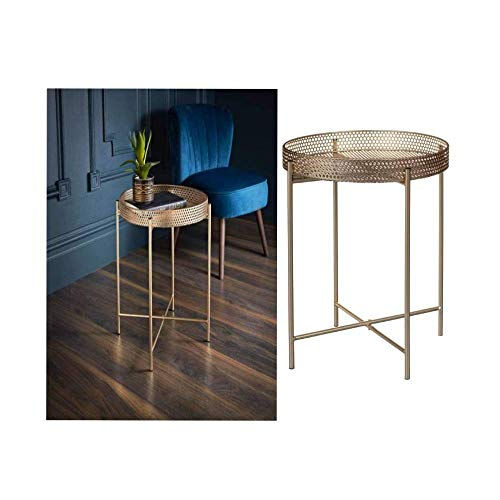 New Unique Stylish Durable Gold Tray Top Table Side Coffee Table Add Some Style To Your Living Room