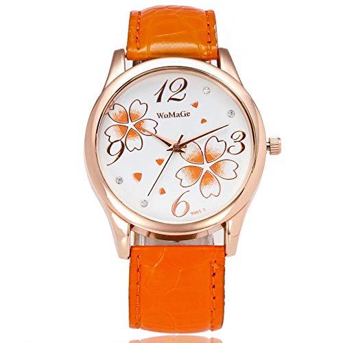 Reloj para Mujer Pulsera Regalo Reloj para Mujer Reloj de Flores de trébol Lindo Reloj de Cuarzo con Personalidad-Naranja
