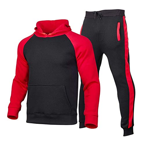 Tomatoa Herren Jogginganzug,Mode Sportanzug Fitness Jogging Traininganzug Freizeitanzug Fitnessanzug Gym Basic Design Jacke Hose Kapuze Sport Gym Männer Sportanzug Trainingsanzug