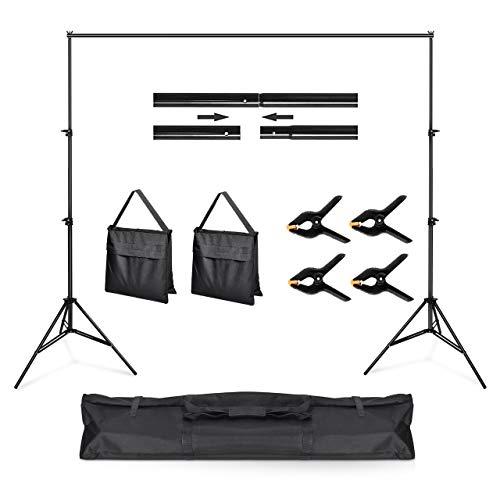 Powerextra Kit Supporto per Fondali Fotografici - Attrezzatura da Studio Regolabile 2m x 3m con 3 Schermi per Fondale Treppiede Stabile 4 Morsetti e Borsa da Trasporto per Riprese Video