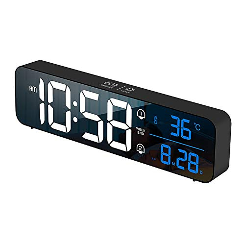 Patgoal Digital Alarm Clock for Heavy Sleepers,Intelligent Voice Control LED Digital Wall Clock Large Display with Calendar Desk/Table Clock for Bedrooms,12/24H,2 Alarms Clock with Snooze Function