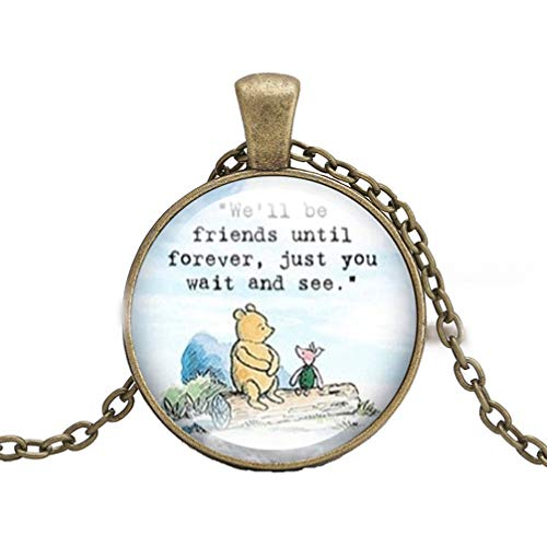Toporchid We'll Be Friends Until Forever Keychain Bear Pendant Necklace for Women,Bronze,Style 1