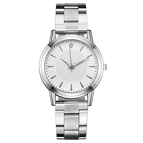 TASGK Aing Store Relojes de Mujer Moda de Lujo Diamante Pareja Relojes de Pulsera de Acero Inoxidable Correa de Malla de Plata Reloj de Cuarzo Femenino (Color : For Women-White)