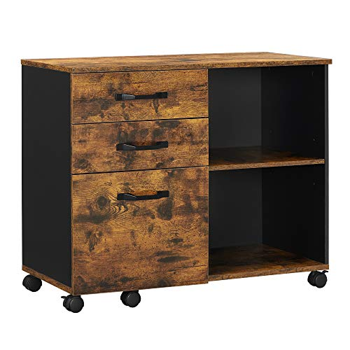 VASAGLE Industrial 3-Drawer File Cabinet, Mobile Lateral Filing Cabinet with Open Compartments, for A4, Letter Sized Documents, Printer Stand, Rustic Brown and Black UOFC041B01
