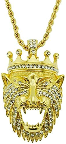 Collar Hipsters europeos y americanos Corona tridimensional fresca Conjunto de diamantes Collar con colgante de cabeza de león Discoteca Bungee Accesorios de hip-hop Colgante para mujeres Hombres Rega