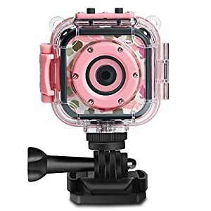 PROGRACE Children Kids Camera Waterproof Digital Video HD Action Camera 1080P Sports Camera Camcorder DV for Girls Birthday Learn Camera Toy 1.77'' LCD Screen (Pink)