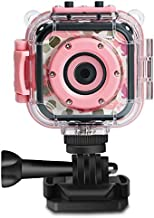 PROGRACE Children Kids Camera Waterproof Digital Video HD Action Camera 1080P Sports Camera Camcorder DV for Girls Birthday Holiday Gift Learn Camera Toy 1.77'' LCD Screen (Pink)