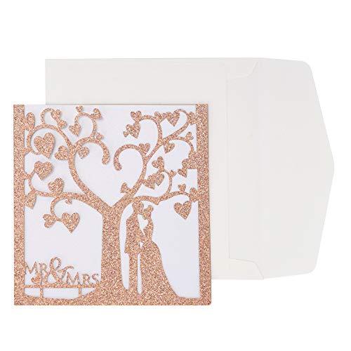 Lasergeschnittene Hochzeit Einladungskarten (20 Stück) - Hochzeitskarten mit druckbaren Einlagen und Umschlägen - Pärchen unterm Baum für Hochzeit Hochzeitstag, Roségold