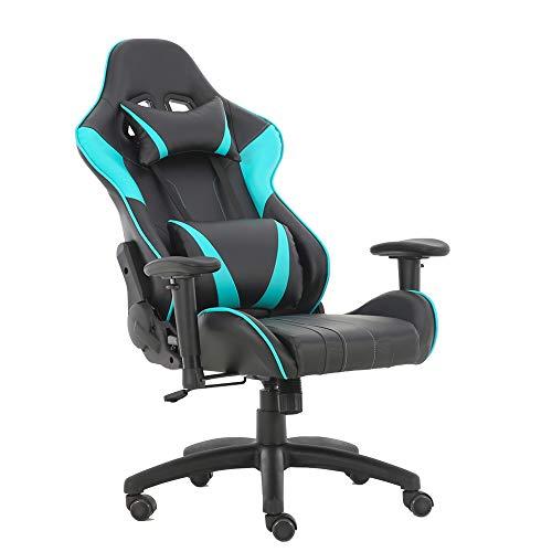 Sedia da gioco regolabile in altezza sedia da ufficio sedia girevole con bracciolo sedia sportiva scrivania (blue-AGS)