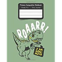 Primary K2 Composition Notebook: For Kids K-2 Grades Story Journal | Picture Space and Dashed Midline Dinosaur Cover