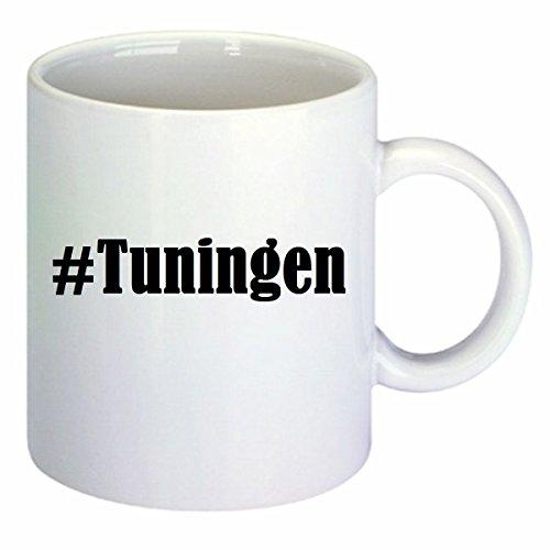 Kaffeetasse #Tuningen Hashtag Raute Keramik Höhe 9,5cm ? 8cm in Weiß