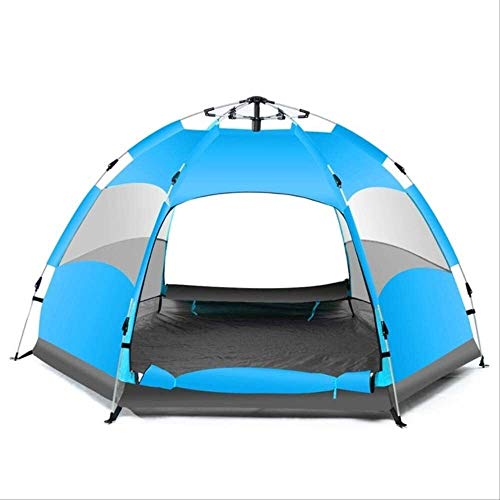 Soul hill Winter tent Waterproof 3-4 People Automatically Pop Up Family Tent Camping Camping Hiking Tent Anti-uv Awning Tent Outdoor Awning (Color : Blue)