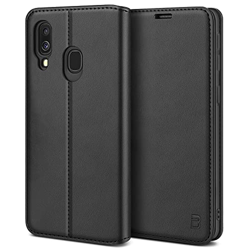 BEZ Handyhülle für Samsung Galaxy A40 Hülle, Premium Tasche Kompatibel für Samsung A40, Schutzhüllen aus Klappetui mit Kreditkartenhaltern, Ständer, Magnetverschluss, Schwarz