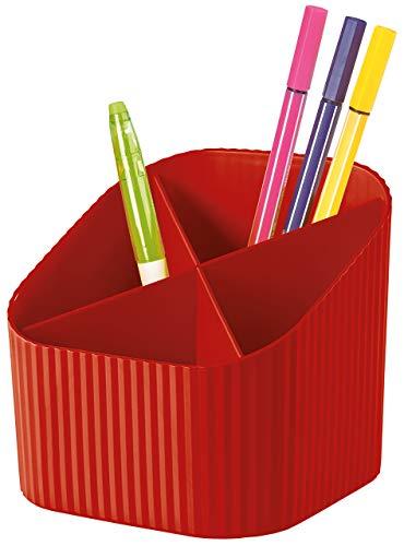 HAN Organizer na biurko X-LOOP – nowoczesny, młodzieżowy design na wszystkie przybory biurkowe z 4 przegródkami, czerwony, 17230-17